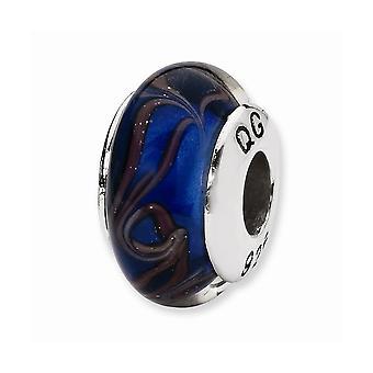 925 スターリング シルバー ポリッシュ リフレクション ブルー ブラウン スワール ハンド吹きガラス ビーズ チャーム ペンダント ネックレス ジュエリー ギフト