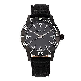 Morphic M85 Series Canvas-Overlaid Leather-Band Watch - Noir