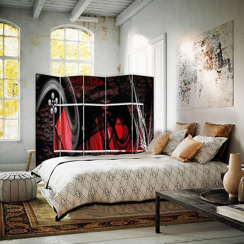 Diviseur de chambre, 5 panneaux, double-sided, Rotatable 360, toile, intérieur - Abstraction rouge