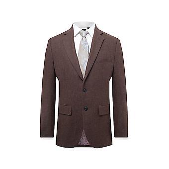 Dobell Mens Brown Flannel Suit Jacket Regular Fit