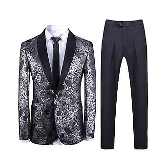 Allthemen mannen ' s 2-delige kostuums afgedrukt sjaal kraag bruiloft banket pak jas & broek