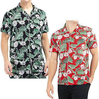 Tapfere Seele Herren Avicci Kurzarm Button Down Casual Hawaiian Print Shirt Top