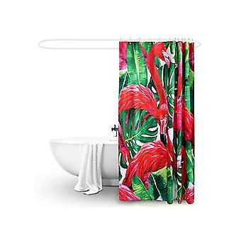 Polyester Waterproof Bathroom Shower Curtain Flamingo 180X180Cm