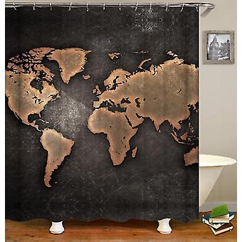 Outlines World Map Blackboard Shower Curtain