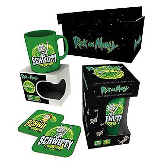 Rick and Morty Mug Gift Box Get Schwifty Logo glass coaster new Official Green