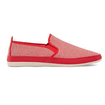 Flossy Brieva mens canvas slip op Plimsolls rood