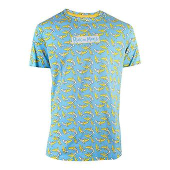 Rick and Morty Banana All-over Print T-Shirt Male XX-Large Blue LS658687RMT-2XL