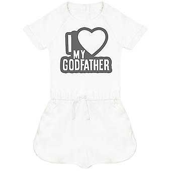 I Love My GodFather Black Outline Baby Playsuit