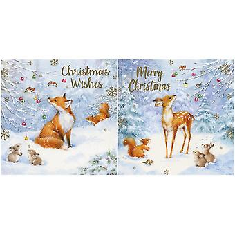 Eurowrap Fox and Deer Christmas Cards (24 x Pack of 12)