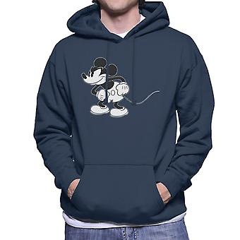 Disney Mickey Mouse Scheming Black And White Men's Hooded Sweatshirt