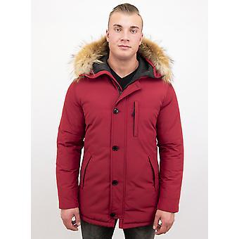 Fur coats - Winter coat Lang - Large Fur Collar - Parka - Red