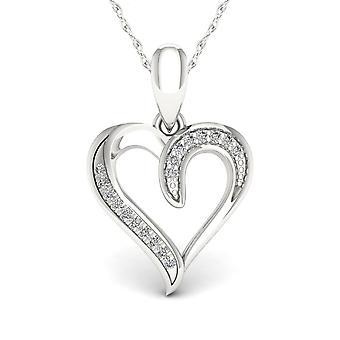 Igi zertifiziert echte 10 k Weißgold 0,05 ct natürliche tdw Diamant Herz Form Anhänger