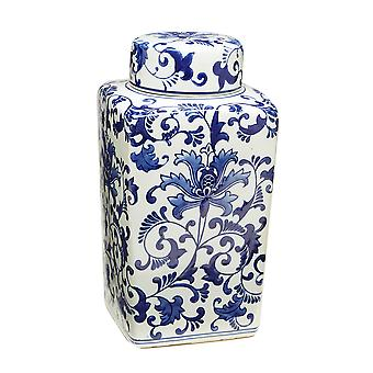 12 1/4 Inch Tall Blue And White Floral Square Jar With Lid