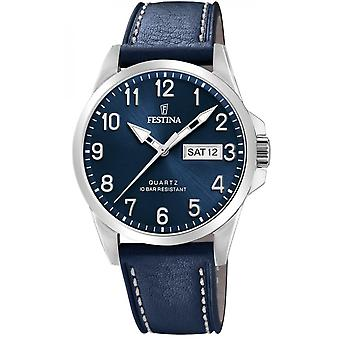 Festina F20358-C klokke-klassisk Dateur bo tier stål sølv Lær armbånd blå blå Dial blå menn