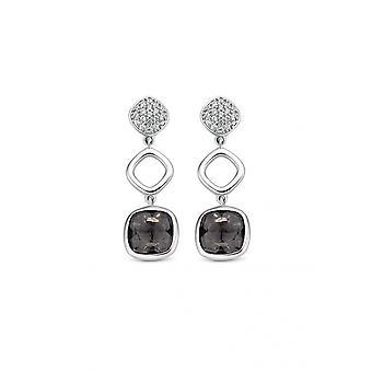 Loops of Apos;Ears Ti Sento 7807GB - silver trio stone ajour and pav