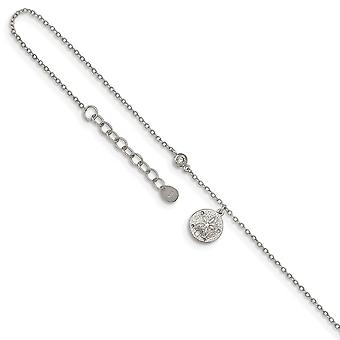 925 Sterling Silver Rhodium verguld CZ Cubic Zirconia Gesimuleerde Diamant en Zand dollar met 1inch Ext. Enkelband 9 Inch Jood