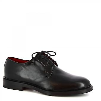 Leonardo Shoes Chaussures Men-apos;s chaussures de derby chic sas faites à la main en cuir de veau noir