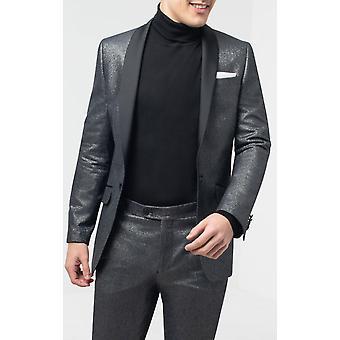 Dobell miesten hopea shimmer smokki takki slim fit kontrasti huivi käänne