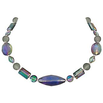Eternal Collection Tranquility Shades Of Green And Purple Crystal Statement Necklace