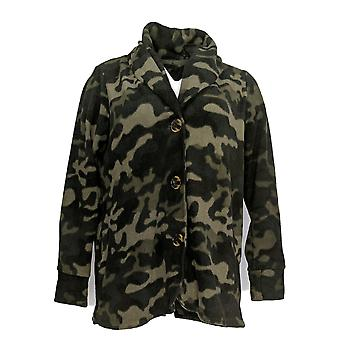 Cuddl Duds Women's Suit Jacket/Blazer Fleece Button Front Green A369667