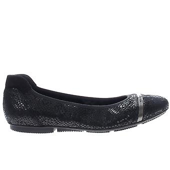 Hogan Women's fashion ballet flats shoes in black suede leather silver band