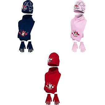 Disney Minnie Mouse Kinder Mädchen Wintermütze, Schal und Handschuhe Set