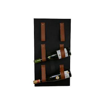 Wine Rack Wall Metal Black 3 Bouteilles
