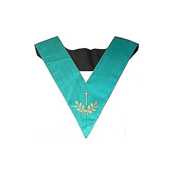 Masonic officer's collar – groussier french rite – tyler – machine embroidery