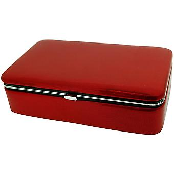 Mele Devon Red Metallic Jewellery Solid Case Ideal For Travel 56025