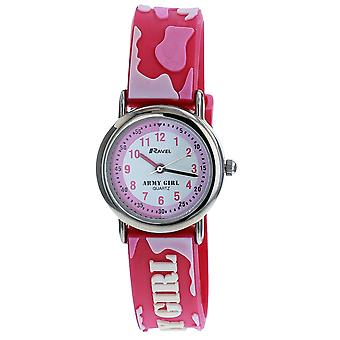 Ravel Army Girl Time Teacher White Dial 3D Pink Strap Girls Watch R1513.55