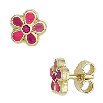 Kids studs flower pink pink 333 gold yellow gold earrings kids earrings