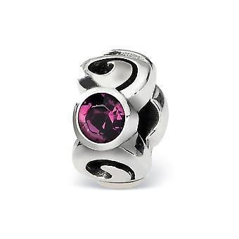 925 Sterling Silver Polerad finish Reflektioner Feb Crystal Bead Charm Hängande Halsband Smycken Gåvor för kvinnor