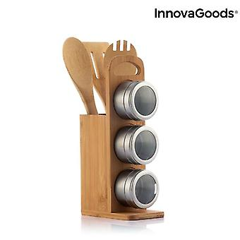 Set of Magnetic Spice Racks with Bamboo Utensils