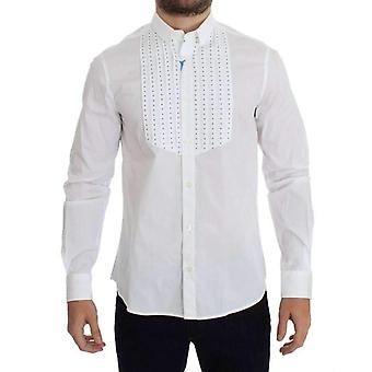 Versace White Studded Slim Fit Cotton Shirt -- SIG1975621