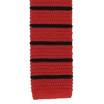 Michelsons Londyn jedwabiu dziana paski Tie chudy - czerwony/czarny