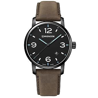 Wenger Urban Metropolitan Quartz Black Dial Brown Leather Strap Men's Watch 01.1741.135 RRP £155