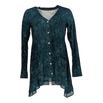LOGO by Lori Goldstein Women's Sweater XXS V Neck Cardigan Teal Blue