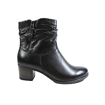 Caprice 25347 Black Leather Womens Heeled Ankle Boots