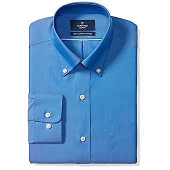 BUTTONED أسفل الرجال & ق الكلاسيكية تناسب زر ذوي الياقات البيضاء الصلبة غير الحديد اللباس قميص (Poc...