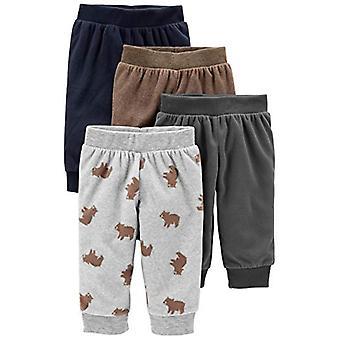 Enkla glädjeämnen av Carter's Boys' 4-Pack Fleece Byxor, Gray/Navy/Brown/Bear Print...