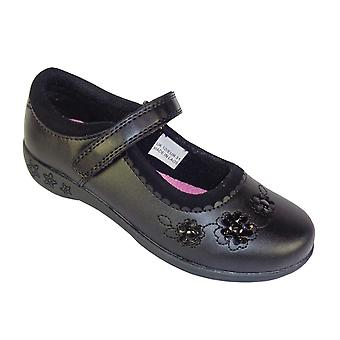 Girls black school shoes with patent flower trims