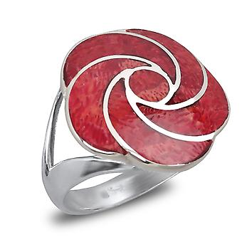 ADEN 925 Sterling Silver Coral Flower Ring (id 2556)