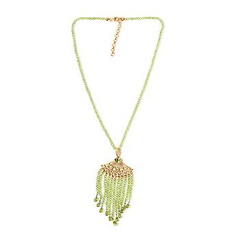 Peridot Kraal Strand Ketting Sterling Silver 14ct Gold Plated, 127.5 Ct TJC