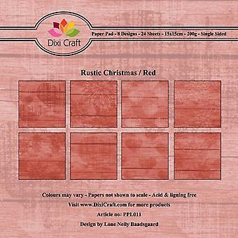 Dixi Craft maalaismainen joulu punainen 6x6 tuuman paperityyny