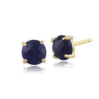 Boucles d'oreilles Classique Round Raw Sapphire Checkerboard Stud en 9ct Yellow Gold 5mm  135E1104019