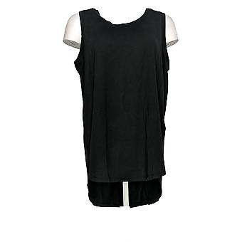 AnyBody Mujeres's Cozy Knit Side Split Tank Top Negro A306950