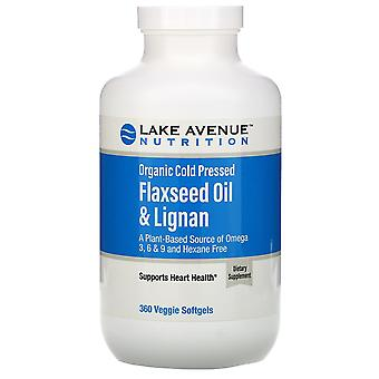 Lake Avenue Nutrition, Organic Cold Pressed Flaxseed Oil & Lignan, Hexane Free,