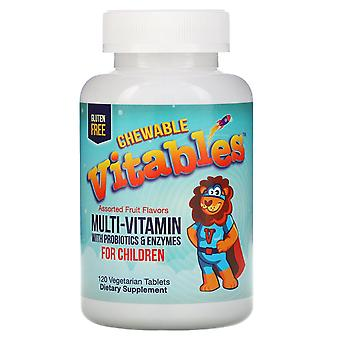 Vitables, Chewable Multi-Vitamins with Probiotics & Enzymes for Children, Assort