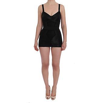 Dolce & Gabbana Black Floral Stretch Romper Body SIG60186-38