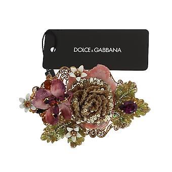 Dolce & Gabbana Multicolor Floral Crystal Gold Brass Hair Clip SMY133